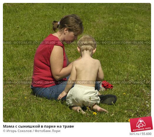 Мама с сынишкой в парке на траве, эксклюзивное фото № 55600, снято 28 мая 2017 г. (c) Игорь Соколов / Фотобанк Лори