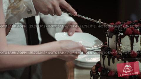 Man and woman cutting celebration cake, видеоролик № 25795012, снято 14 марта 2016 г. (c) Алексей Макаров / Фотобанк Лори