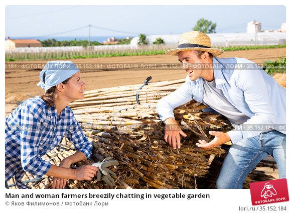 Man and woman farmers breezily chatting in vegetable garden. Стоковое фото, фотограф Яков Филимонов / Фотобанк Лори