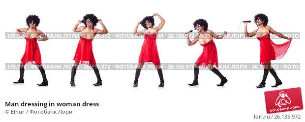 Купить «Man dressing in woman dress», фото № 26135972, снято 14 февраля 2013 г. (c) Elnur / Фотобанк Лори