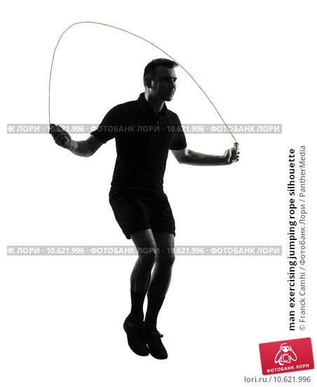 man exercising jumping rope silhouette. Стоковое фото, фотограф Franck Camhi / PantherMedia / Фотобанк Лори