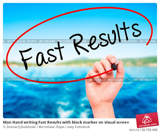 Купить «Man Hand writing Fast Results with black marker on visual screen», фото № 28150440, снято 18 июня 2018 г. (c) easy Fotostock / Фотобанк Лори