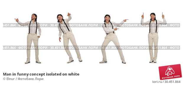 Man in funny concept isolated on white. Стоковое фото, фотограф Elnur / Фотобанк Лори