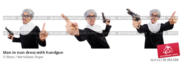 Man in nun dress with handgun. Стоковое фото, фотограф Elnur / Фотобанк Лори