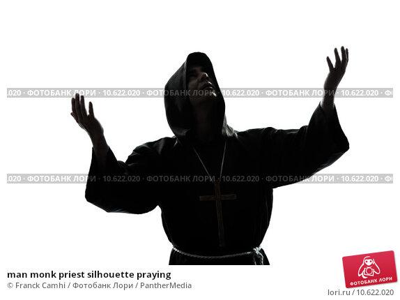 man monk priest silhouette praying. Стоковое фото, фотограф Franck Camhi / PantherMedia / Фотобанк Лори