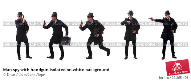 Купить «Man spy with handgun isolated on white background», фото № 29265496, снято 6 ноября 2017 г. (c) Elnur / Фотобанк Лори