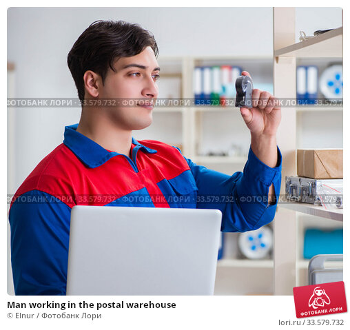 Купить «Man working in the postal warehouse», фото № 33579732, снято 23 марта 2017 г. (c) Elnur / Фотобанк Лори