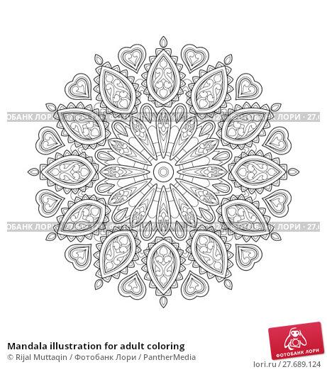 Купить «Mandala illustration for adult coloring», иллюстрация № 27689124 (c) PantherMedia / Фотобанк Лори