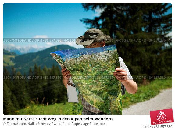 Mann mit Karte sucht Weg in den Alpen beim Wandern. Стоковое фото, фотограф Zoonar.com/Nailia Schwarz / age Fotostock / Фотобанк Лори