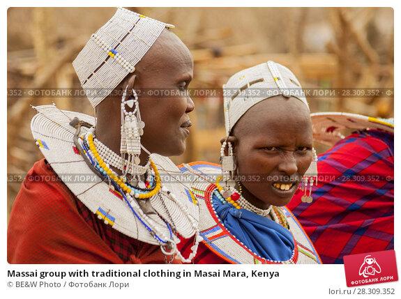 Купить «Massai group with traditional clothing in Masai Mara, Kenya», фото № 28309352, снято 22 апреля 2019 г. (c) BE&W Photo / Фотобанк Лори