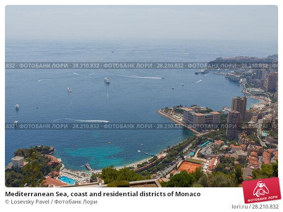 Купить «Mediterranean Sea, coast and residential districts of Monaco», фото № 28210832, снято 4 августа 2016 г. (c) Losevsky Pavel / Фотобанк Лори