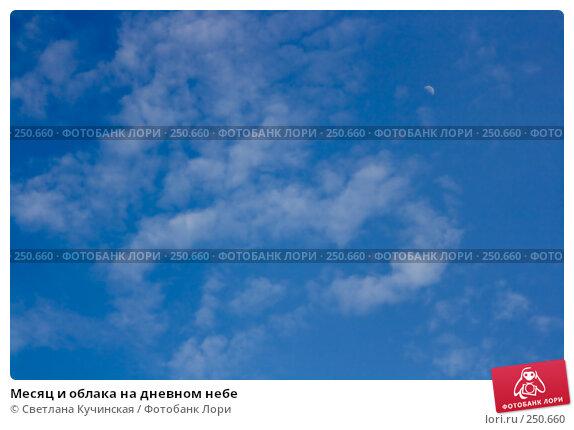 Месяц и облака на дневном небе, фото № 250660, снято 26 апреля 2017 г. (c) Светлана Кучинская / Фотобанк Лори