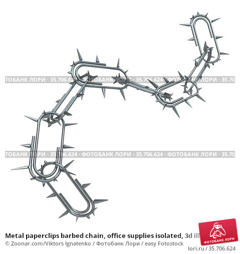 Metal paperclips barbed chain, office supplies isolated, 3d illustration... Стоковое фото, фотограф Zoonar.com/Viktors Ignatenko / easy Fotostock / Фотобанк Лори