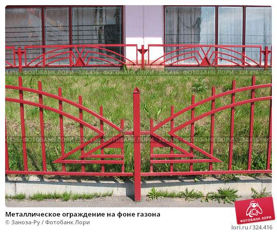 Металлическое ограждение на фоне газона, фото № 324416, снято 12 июня 2008 г. (c) Заноза-Ру / Фотобанк Лори