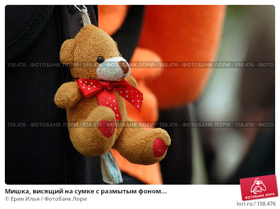 Мишка, висящий на сумке с размытым фоном..., фото № 158476, снято 9 мая 2007 г. (c) Ерин Илья / Фотобанк Лори
