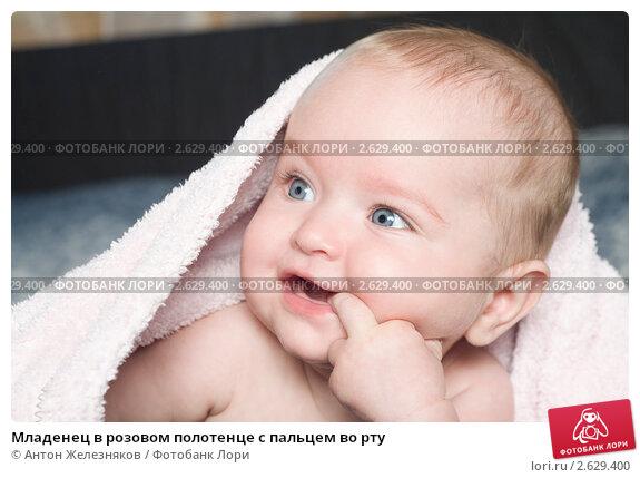 Купить «Младенец в розовом полотенце с пальцем во рту», фото № 2629400, снято 7 ноября 2010 г. (c) Антон Железняков / Фотобанк Лори