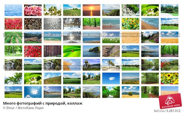 Купить «Много фотографий с природой, коллаж», фото № 3287012, снято 12 октября 2011 г. (c) Elnur / Фотобанк Лори