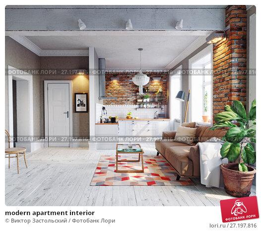 Купить «modern apartment interior», фото № 27197816, снято 11 декабря 2018 г. (c) Виктор Застольский / Фотобанк Лори