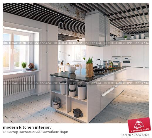 Купить «modern kitchen interior.», фото № 27377424, снято 21 января 2018 г. (c) Виктор Застольский / Фотобанк Лори