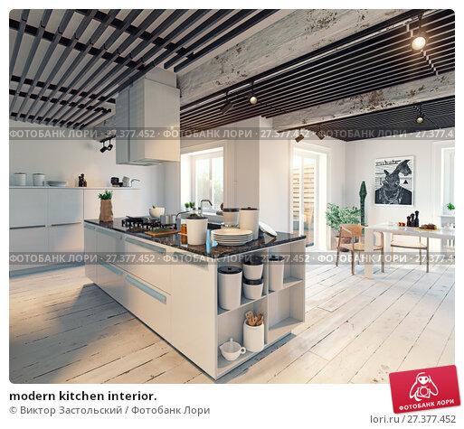 Купить «modern kitchen interior.», фото № 27377452, снято 21 января 2018 г. (c) Виктор Застольский / Фотобанк Лори