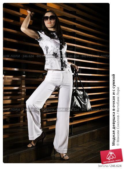 Модная девушка в очках и с сумкой, фото № 246624, снято 14 февраля 2008 г. (c) Максим Соколов / Фотобанк Лори