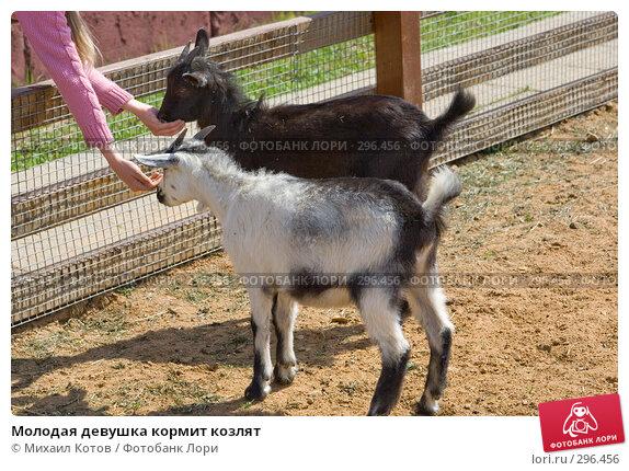 Молодая девушка кормит козлят, фото № 296456, снято 13 мая 2008 г. (c) Михаил Котов / Фотобанк Лори