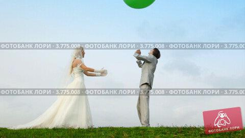 Молодожены играют с надувным мячом на фоне неба и летнего поля, видеоролик № 3775008, снято 29 января 2012 г. (c) Losevsky Pavel / Фотобанк Лори