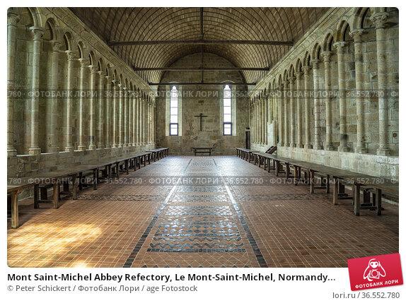 Mont Saint-Michel Abbey Refectory, Le Mont-Saint-Michel, Normandy... Стоковое фото, фотограф Peter Schickert / age Fotostock / Фотобанк Лори