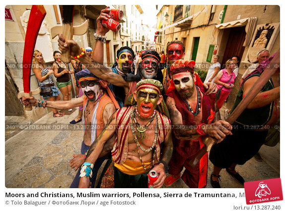 Купить «Moors and Christians, Muslim warriors, Pollensa, Sierra de Tramuntana, Majorca, Balearic Islands, Spain», фото № 13287240, снято 3 июля 2020 г. (c) age Fotostock / Фотобанк Лори