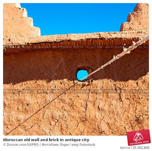 Moroccan old wall and brick in antique city. Стоковое фото, фотограф Zoonar.com/LKPRO / easy Fotostock / Фотобанк Лори