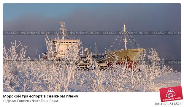 Морской транспорт в снежном плену. Стоковое фото, фотограф Денис Гоппен / Фотобанк Лори