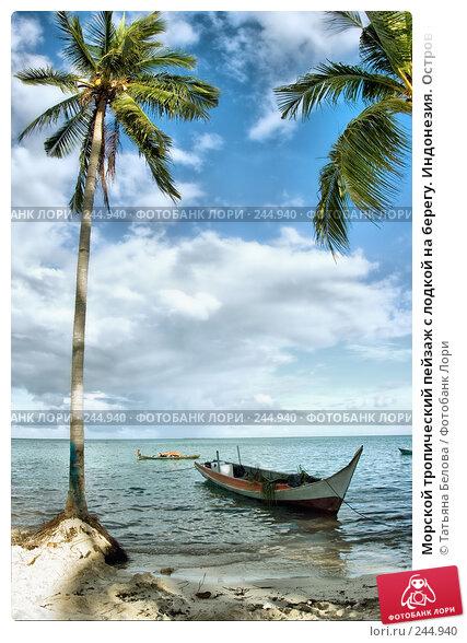 Морской тропический пейзаж с лодкой на берегу. Индонезия. Остров Мабул, фото № 244940, снято 18 марта 2008 г. (c) Татьяна Белова / Фотобанк Лори