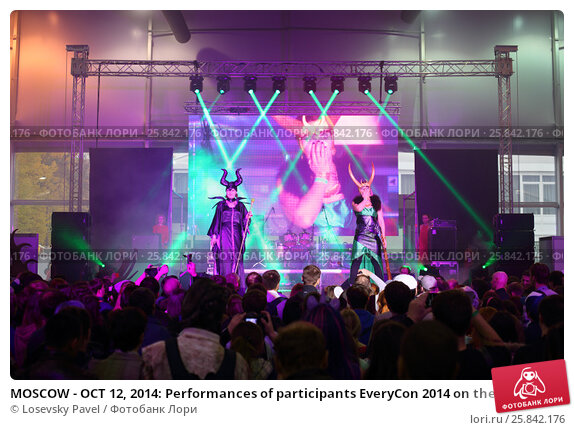 Купить «MOSCOW - OCT 12, 2014: Performances of participants EveryCon 2014 on the stage in the exhibition center Sokolniki», фото № 25842176, снято 12 октября 2014 г. (c) Losevsky Pavel / Фотобанк Лори
