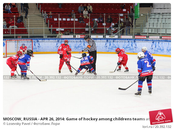 Купить «MOSCOW, RUSSIA - APR 26, 2014: Game of hockey among childrens teams at the Ice Palace of Sports Sokolniki», фото № 20392132, снято 26 апреля 2014 г. (c) Losevsky Pavel / Фотобанк Лори