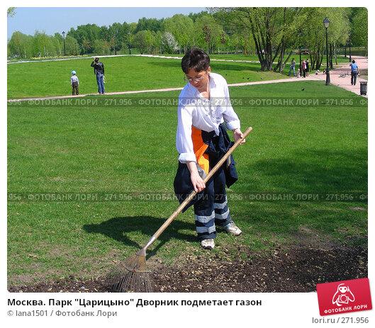 """Москва. Парк """"Царицыно"""" Дворник подметает газон, эксклюзивное фото № 271956, снято 4 мая 2008 г. (c) lana1501 / Фотобанк Лори"""
