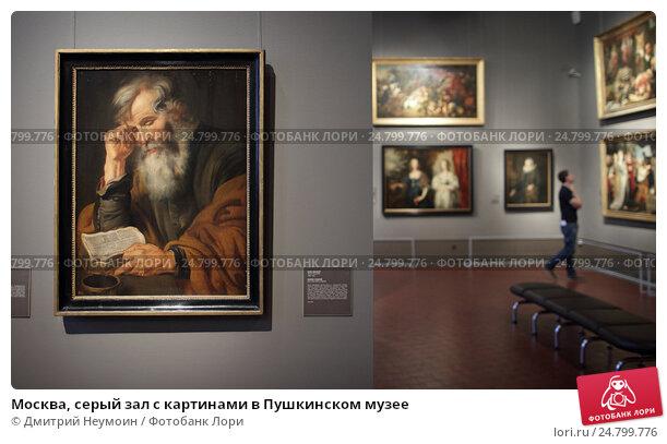 Купить «Москва, серый зал с картинами в Пушкинском музее», эксклюзивное фото № 24799776, снято 2 сентября 2016 г. (c) Дмитрий Неумоин / Фотобанк Лори