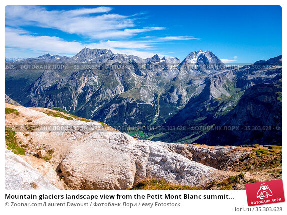 Mountain glaciers landscape view from the Petit Mont Blanc summit... Стоковое фото, фотограф Zoonar.com/Laurent Davoust / easy Fotostock / Фотобанк Лори