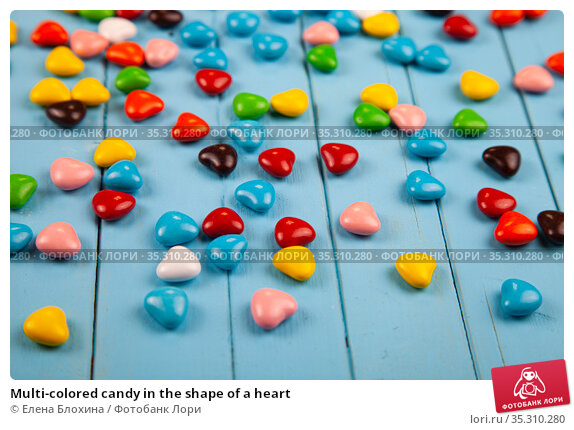 Multi-colored candy in the shape of a heart. Стоковое фото, фотограф Елена Блохина / Фотобанк Лори
