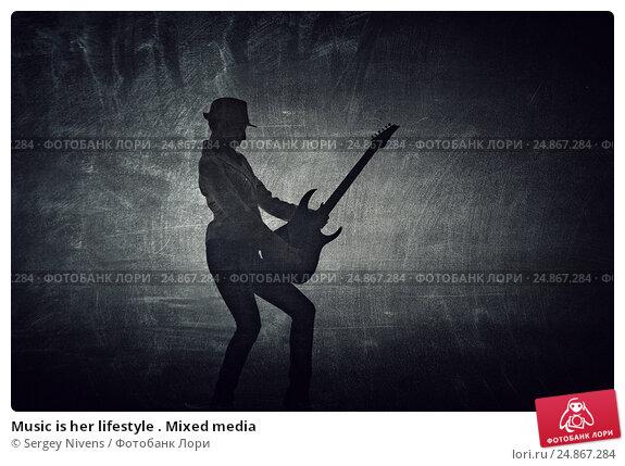 Купить «Music is her lifestyle . Mixed media», фото № 24867284, снято 20 октября 2015 г. (c) Sergey Nivens / Фотобанк Лори