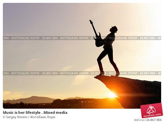 Купить «Music is her lifestyle . Mixed media», фото № 24867984, снято 17 марта 2014 г. (c) Sergey Nivens / Фотобанк Лори