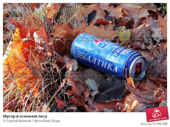 Мусор в осеннем лесу (2013 год). Редакционное фото, фотограф Сергей Войнов / Фотобанк Лори