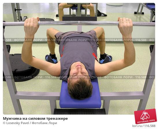 Мужчина на силовом тренажере, фото № 116588, снято 29 декабря 2005 г. (c) Losevsky Pavel / Фотобанк Лори
