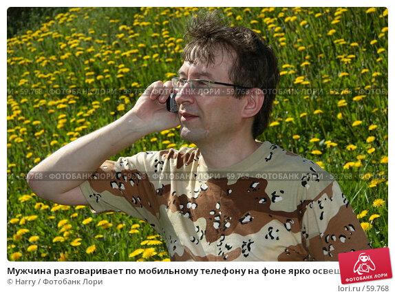 Купить «Мужчина разговаривает по мобильному телефону на фоне ярко освещенной зеленой полянки», фото № 59768, снято 23 июня 2005 г. (c) Harry / Фотобанк Лори
