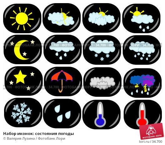 Купить «Набор иконок: состояния погоды», иллюстрация № 34700 (c) Валерия Потапова / Фотобанк Лори