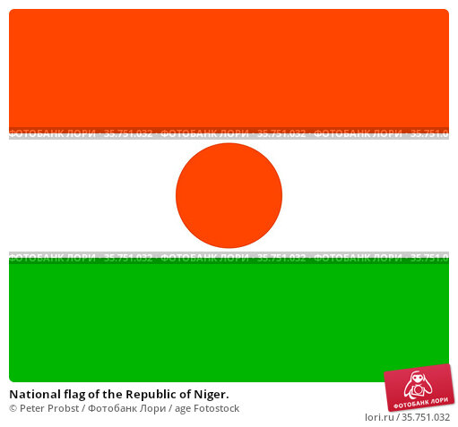 National flag of the Republic of Niger. (2019 год). Редакционное фото, фотограф Peter Probst / age Fotostock / Фотобанк Лори
