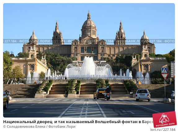 Купить «Национальный дворец  и так называемый Волшебный фонтан в Барселоне», фото № 227184, снято 21 сентября 2005 г. (c) Солодовникова Елена / Фотобанк Лори