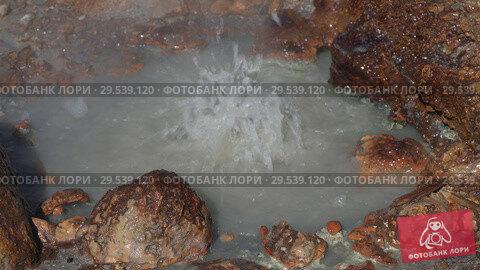 Купить «Natural aggressive volcanic hot springs splashing of boiling mineral water», видеоролик № 29539120, снято 26 сентября 2018 г. (c) А. А. Пирагис / Фотобанк Лори