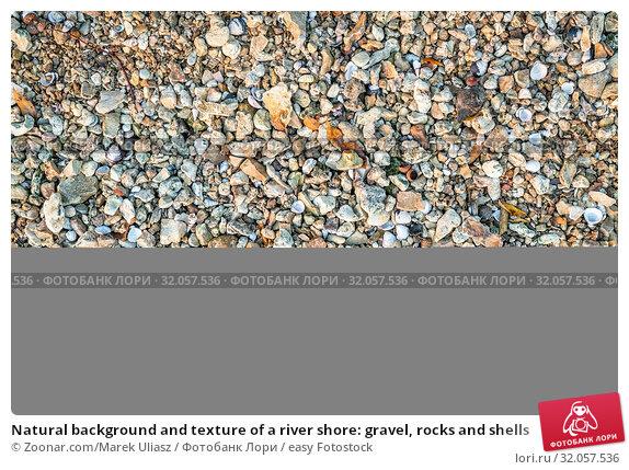 Natural background and texture of a river shore: gravel, rocks and shells. Стоковое фото, фотограф Zoonar.com/Marek Uliasz / easy Fotostock / Фотобанк Лори