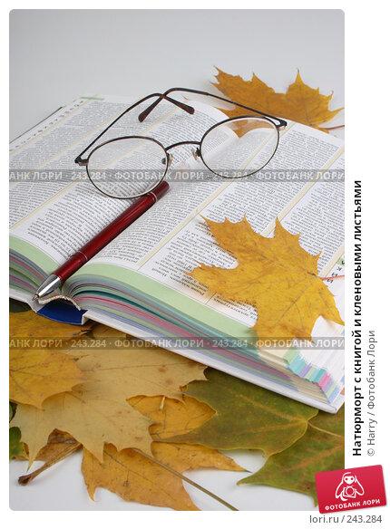 Натюрморт с книгой и кленовыми листьями, фото № 243284, снято 3 октября 2007 г. (c) Harry / Фотобанк Лори