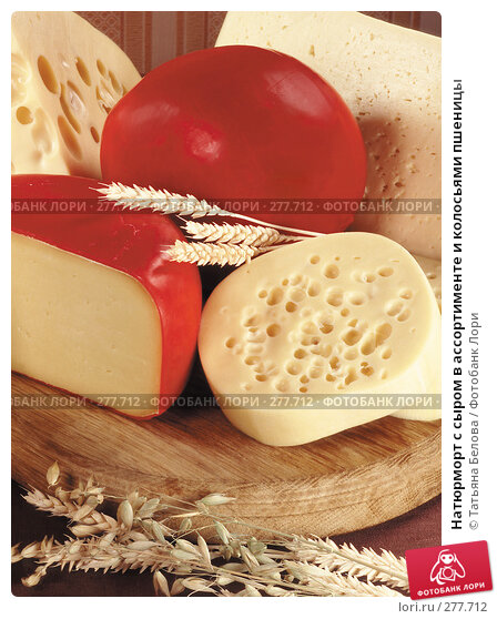 Натюрморт с сыром в ассортименте и колосьями пшеницы, фото № 277712, снято 21 февраля 2017 г. (c) Татьяна Белова / Фотобанк Лори